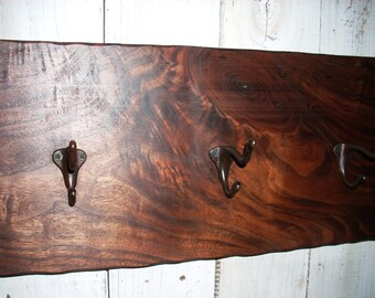 Walnut Entryway Floating Coat Rack with Vintage Hooks