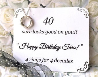 40th BIRTHDAY Necklace With POEM 4 Sterling Silver Inseparable Rings for 4 Decades Happy 40th Birthday Gift Sister Friend 4 Connected Rings