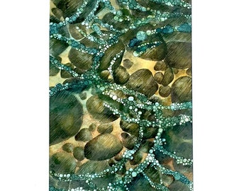 Matted Original Watercolor, Skipping Stones Original Watercolor and Ink Painting, Unframed and Matted Stone and Water Art, Bubbles on Water