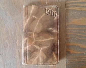 Antique 1910 Leather Diary The Spokesman Review, Spokane, Washington with Some Entries