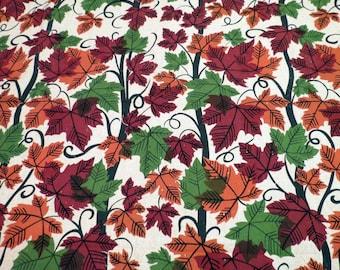 Vintage Barkcloth Leaf Pattern NOS Orange, Green