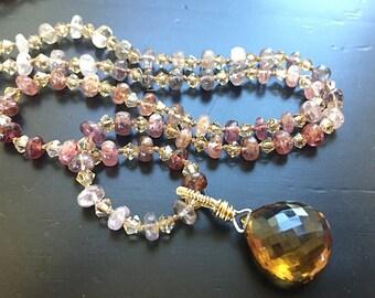 Silk Gemstone Necklace Cognac Quartz Spinel Necklace Multi Gemstone Necklace