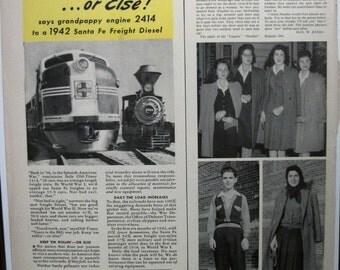 "Train/Rail ... 102  ""Sante Fe ...""  Magazine Ad - May 1942"