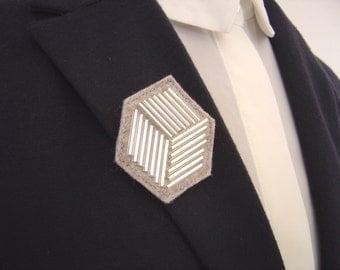 Silver Cube Brooch, Felt Brooch, Silver Beaded Brooch, Geometric Brooch, Cube Shape Brooch Pin, Gift For Her, Gift Boxed Brooch, Cubist Pin