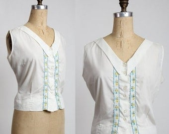 ON SALE White Embroidered Top . Sleeveless Blouse