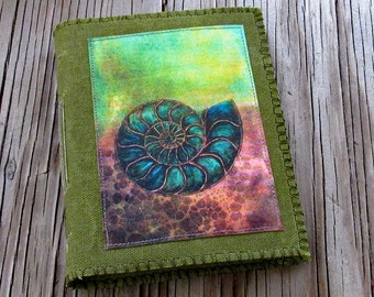 SALE ammonite journal - green waxed canvas journal