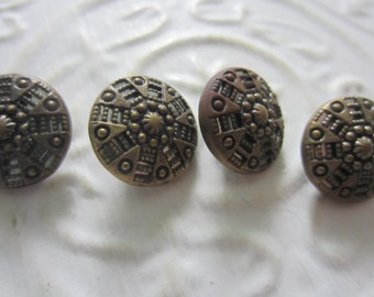 Vintage Buttons -  pressed and molded, bronze metal lot of 4 matching twinkle/ mirror backs (aug 1b)