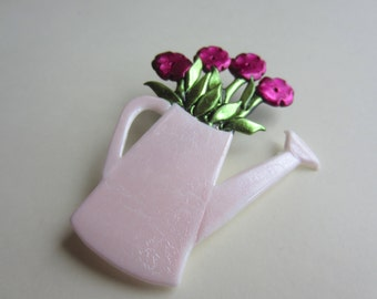 Fuchsia flowers in Watering Can Pin Brooch