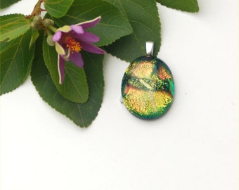 Fused dichroic glass pendant, golden