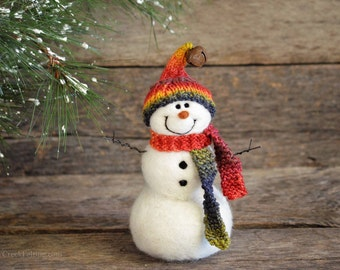 Snowman - handmade - needle felted- one of a kind -  724