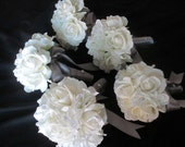 Reserved listing for......Tonya Johnson.....Real Touch Cream/white roses  wrapped in Pewter Gray Satin Bridal Bouquet Set