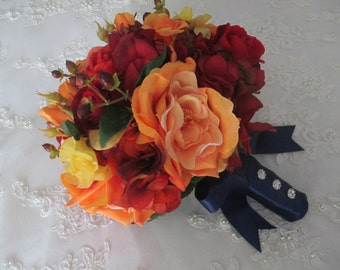 Reserved listing for.....Colleen Harker......Orange and Red Autumn Fall Rich and Romantic Bridal Bridesmaids Destination Wedding Bouquet Set