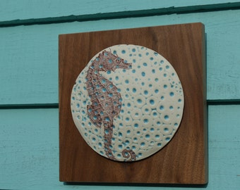 Bubble Seahorse Porcelain Wall Art on wood