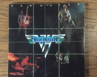 Van Halen recycled 1978 album cover handcrafted wood coasters with record bowl great rocker music gift