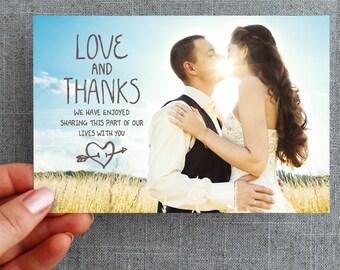 """Digital File, Wedding Thank you card, postcard, handwritten, natural, """"Isabells Heart"""""""