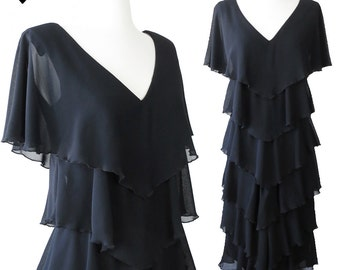 Vintage 80s Black Chiffon Cocktail Prom Party Dress S M Tiered Glam V Neck Lbd Ruffle Flutter