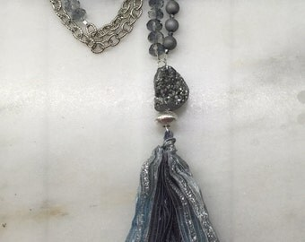 Silver Drusy Tassel Necklace.  Druze. Boho jewelry Crystal necklace chain tassel necklace