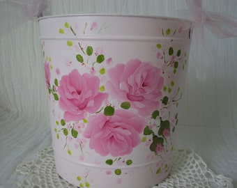 Wall Pocket Card Holder Hand Painted Pink Roses Cottage Chic Home Decor