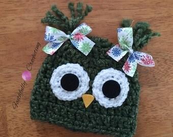 Newborn owl hat.. Green owl.. Photo prop.. Ready to ship