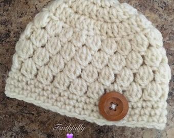 Newborn boy beanie... Cream hat.. Wooden button.. Photo prop.. Ready to ship