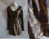 Vintage 90s Dress Size S Taupe Silk LS Mini Abstract Print Shipley And Halmos Designer Boho Hipsters