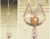 Vintage 1970s Sea Shell Plant Hanger | 40in 102cm Hanging Storage Planter Cowrie Ocean Beach Fring Tassle Beach Nature | DECOR | FOUND by LB