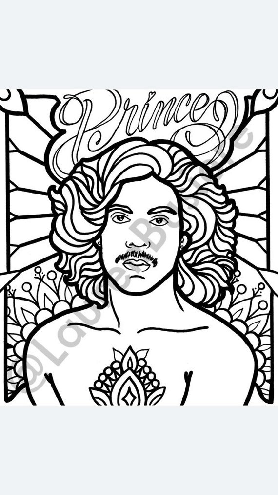 madebylaurenb prince rogers nelson memorial coloring page pdf instant download illustration celebrity adult coloring pages made by lauren b - Celebrity Coloring Book