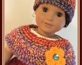 Doll Clothes Made For American Girl Josefina, Crochet Capelet and Hat, Fits 18 Inch Doll