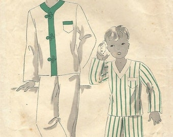 1930s Hollywood 957 Vintage Sewing Pattern Boys Pajamas Size 8, Size 10