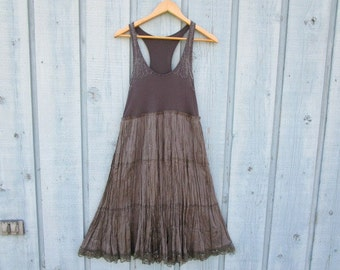 Med. Beaded Empire Waist Silver Gray Tank Top Dress// Upcycled// emmevielle
