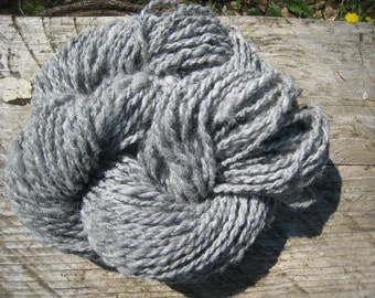 Handspun Medium Gray Alpaca, Worsted two Ply, 56 Yards Thick and Thin, 2.36 Ounce Hand Spun Skein, My Farm fibers, Knitting Yarn, Crochet
