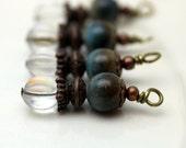 Vintage Style Czech Clear AB Melon and Ceramic Bead Dangle Charm Drop Set, Earring Dangle, Pendant, Drop