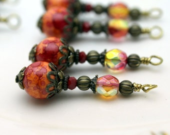 Orange Variegate Ceramic and Czech Crystal Bead Dangle Charm Drop Set, Earring Dangle, Jewelry Making, Pendant
