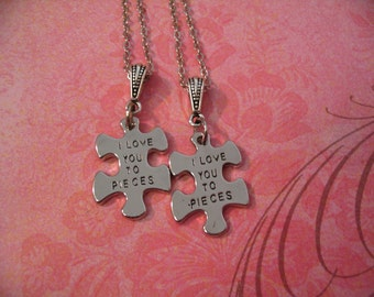 I Love you to Pieces Puzzle Charm Necklaces for Sisters Friends or Mother Daughter