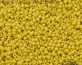 Size 11/0 Vintage Venetian Seed Beads - Opaque Pale Mustard Yellow