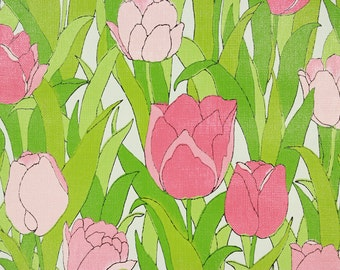 1970s Retro Vintage Wallpaper Vinyl Pink Tulips with Green Leaves by the Yard