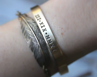 FREE SHIPPING. Hand Stamped Cuff Bracelet. Silver Aluminum or Brass. Personalized
