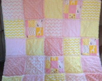 Baby Girl Pink and Yellow Rag Quilt...with Giraffes