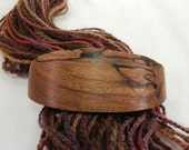 Small Hair Barrette, Black Walnut Wood, lifetime guarantee, NO GLUE, french clip, long natural hair, wooden hair jewelry, Valentine's Day