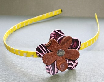 CLEARANCE - Yellow Purple and Brown Wrapped Head Band - Washi Tape and Metal Headband - Leather Flower