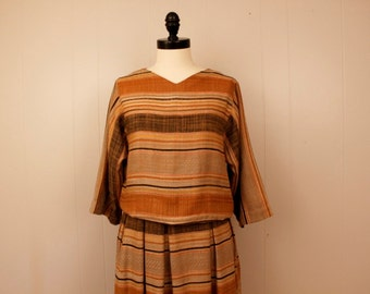 Vintage 1980's Christian Dior Tan Brown Orange Striped Linen Shirt Skirt