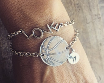 Basketball Open Link Bracelet Sterling Silver Charm With Number or Initial Basketball Mom with LOVE Bracelet too