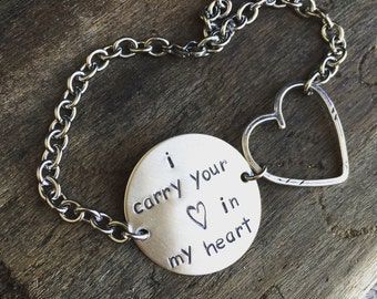 New Sterling Silver I carry your heart in my heart  Bracelet with Open Heart Tag Charm and Circle Tag