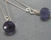 ON SALE - Iolite blue quartz briolette drop earrings with handmade sterling ear wire, Long iolite quartz gemstone dangle earrings