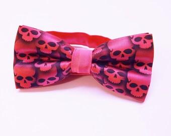 RokGear Skull Bow tie Men's  Hot Pink skull tie bow tie