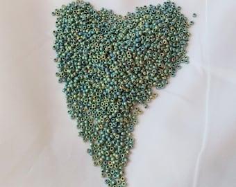 15/0 Miyuki seed bead, Matte Met Patina Iris, 10 gram bag, Color # 15-2008
