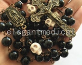 Howlite Skull & Black Agate Beads VINTAGE ROSARY crucifix catholic necklace