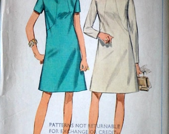 Vintage 60's Simplicity 7807 Sewing Pattern, Misses' Dress, Size 14 1/2, 37 Bust, Mad Men Mod