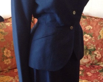 Vintage 1940s Navy Blue Women's Suit by Maymann...fits Small