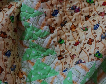 Toddler Quilt Handmade Modern Patchwork Squares and Flying Geese Green Pink Brown Blue Rust Cotton